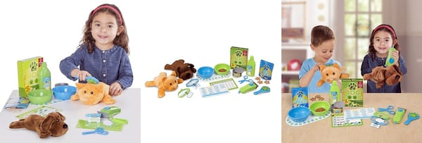 Gift Ideas For Your Niece, a young boy and girl playing with the Melissa and Doug Feeding and Grooming Pet Care Play Set, family
