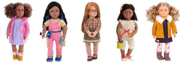Gift Ideas For Your Niece, five Our Generation dolls from Target, family