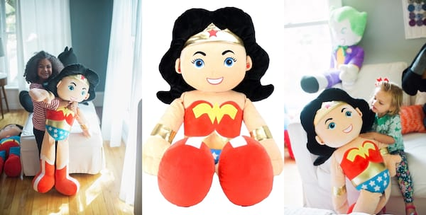 Gift Ideas For Your Niece, three images of a jumbo Wonder Woman plush, family