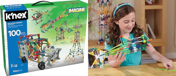 Gift Ideas For Your Niece, two images of K'NEX including a young white girl playing with them, family