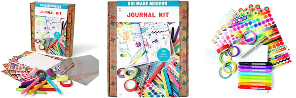 Gift Ideas For Your Niece, three images of the Kid Made Modern Journal Kit, family