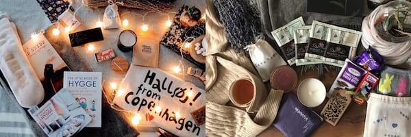 Subscription Boxes To Give, two images of the Hygge Box
