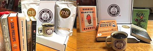 Subscription Box Gift Ideas, two images of the My Coffee and Book Club subscription box