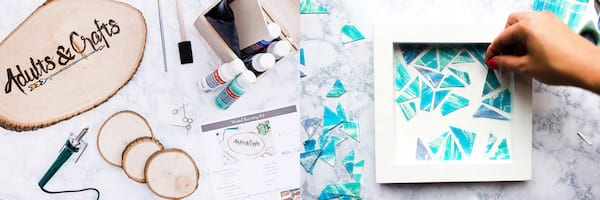 Subscription Boxes Gift Ideas, two images of the Adults & Crafts Crate subscription box