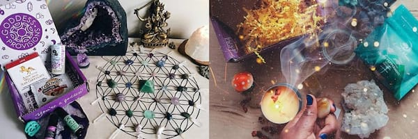 Subscription Box Gift Ideas, two images of the Goddess Provisions subscription box