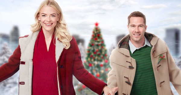 man and woman ice skating smiling laughing in the mistletoe promise, hallmark movies