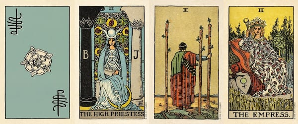 Tarot For Beginners, four images from the Smith-Waite Tarot Deck, culture