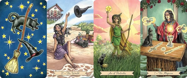 Tarot For Beginners, four images of the Everyday Witch Tarot, culture