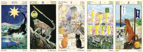 Tarot For Beginners, five images from the Tarot of Pagan Cats, culture