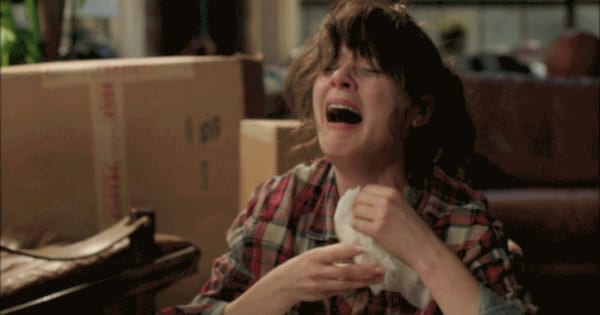 Jess crying after being dumped in the first episode of New Girl