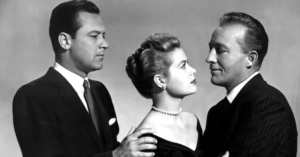 two men holding a woman in black and white, bing crosby movies
