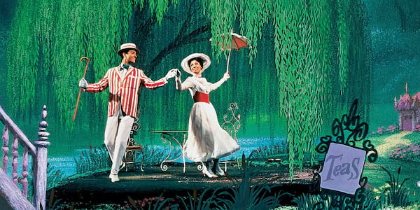 Mary Poppins Instagram Captions, an image of Mary and Bert dancing together, pop culture, movies