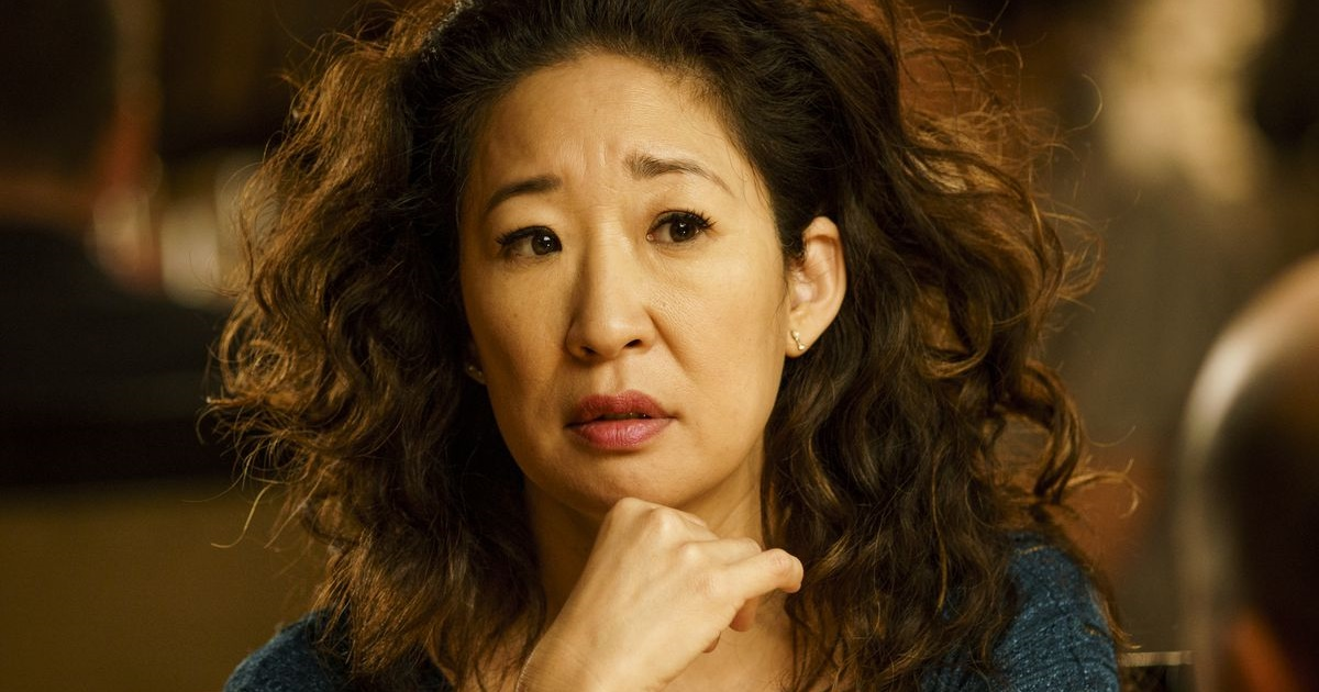 Sandra Oh Instagram Captions, close up of Sandra Oh from Killing Eve, her hair wavy, pop culture, celebs