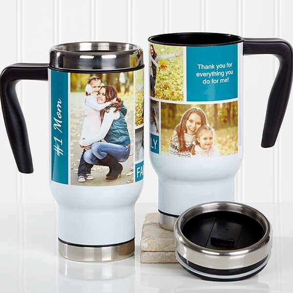 Personalized photo collage travel mug from PersonalizationMall.com