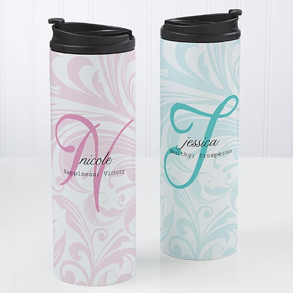 Personalized name meaning travel mug from PersonalizationMall.com