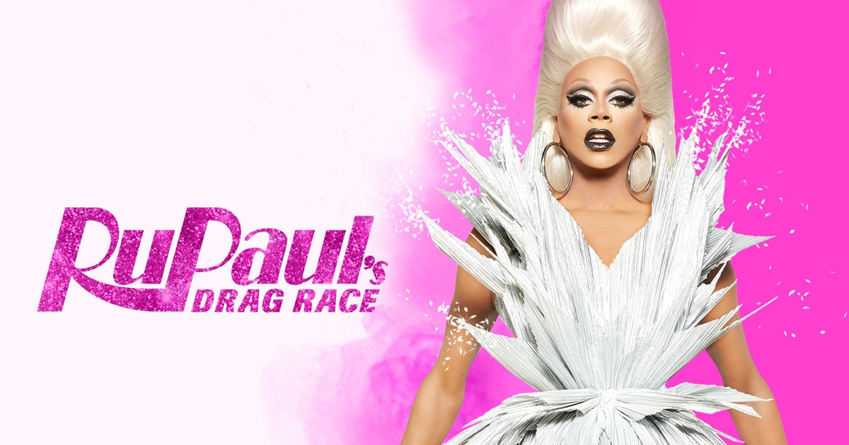 RuPaul's Drag Race Instagram Captions, RuPaul wearing a white dress and large hoop earrings against a pink background, pop culture, tv, celebs