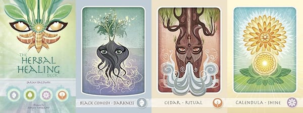Oracle Decks For Beginners, four images of the Herbal Healing Deck, culture