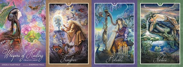 Oracle Decks For Beginners, four images of the Whispers of Healing Oracle Cards, culture