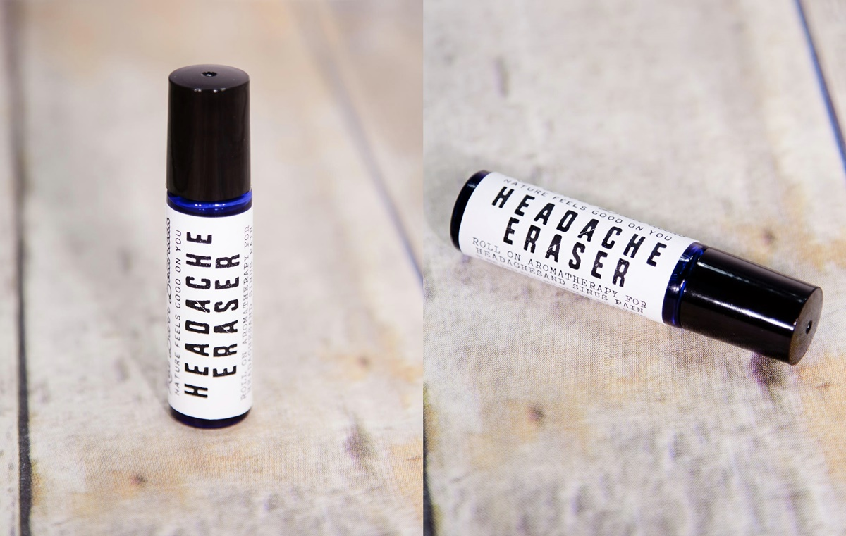 Natural Pain Management, two images of Headache Eraser roller ball by Red Barn Botanicals, health