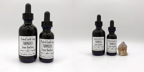 Natural Pain Management, two images of Rooted Earth Farm's Turmeric Lunar Tincture, health