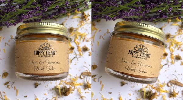 Natural Pain Management, two images of Hippy Heart Naturals' Pain & Soreness Relief Salve, health