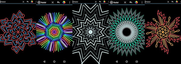 Relaxing Phone Games, five screenshots of the phone game Radial, science & tech
