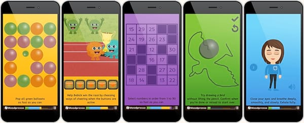 Relaxing Phone Games, five screenshots of the Moodpresso phone game, science & tech