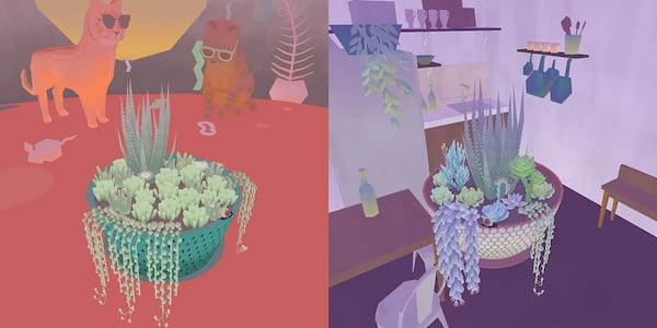 Relaxing Phone Games, two images of the game Viridi, science & tech
