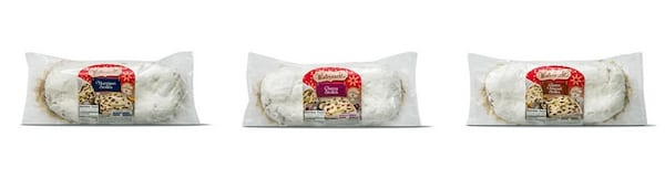 Affordable Holiday Food, three different flavors of stollen from Aldi, food & drinks
