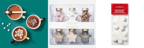 Affordable Holiday Treats, three images of hot cocoa, the Hot Cocoa Kit, and Snowflake Marshmallow Shape Hot Chocolate Topper, food & drinks