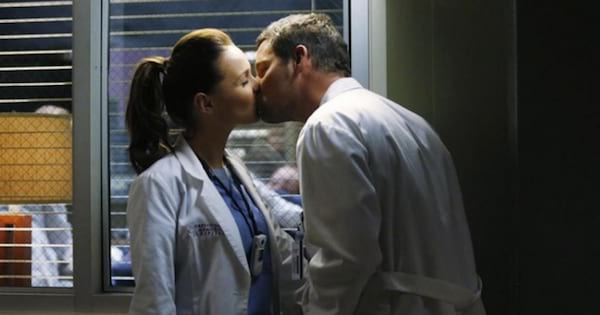 jo and alex kissing in the hospital on grey's anatomy
