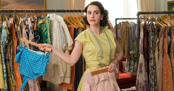 Miriam Maisel trying on swimsuits in The Marvelous Mrs. Maisel