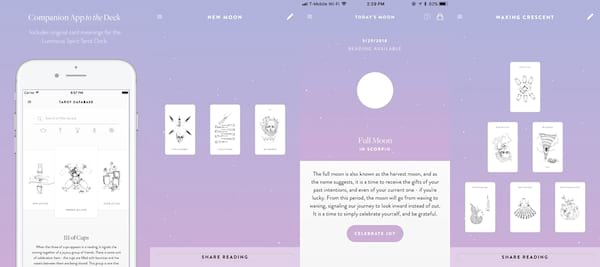 Tarot Apps For Advice On the Go, four images of the the Luminous Spirit Tarot, culture, science & tech
