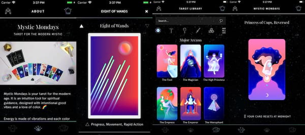 Tarot Apps For Advice On the Go, four images for the Mystic Mondays app, culture, science & tech