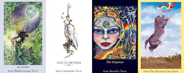 Tarot Apps For Advice On the Go, four images of the Fool's Dog Tarot Sampler, culture, science & tech