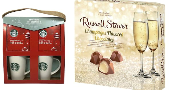Starbucks gift set and Russell Stover chocolates next to each other