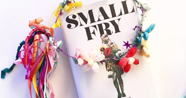 small fry book on white table with flowers and ribbon, books 2018