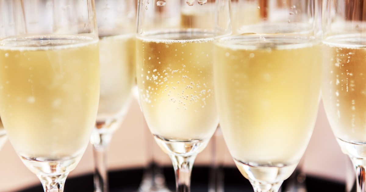 Closeup of full champagne  flutes
