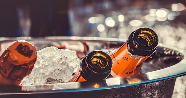 champagne bottles in ice, new years eve