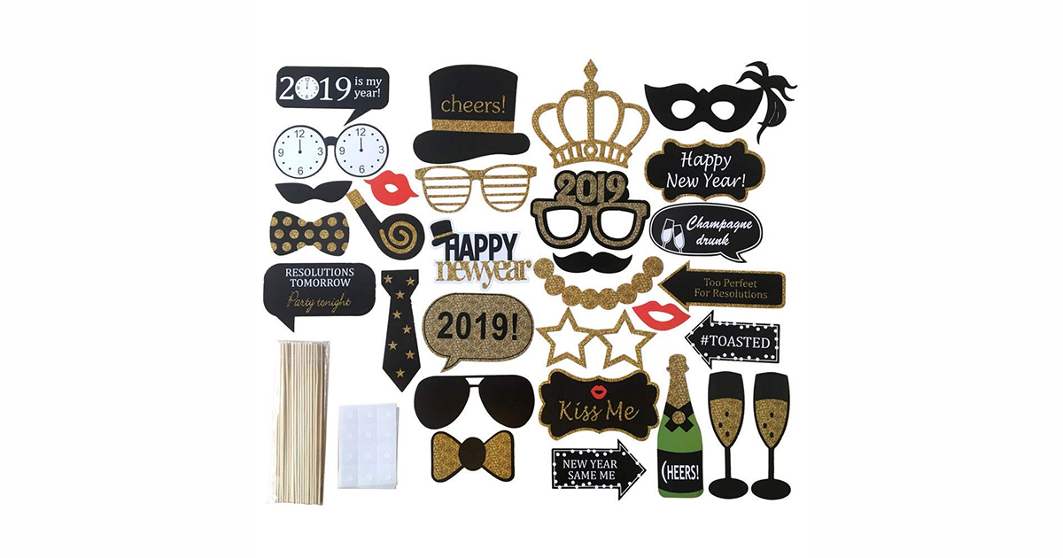 New Year's Eve photo booth props 2018, 2019
