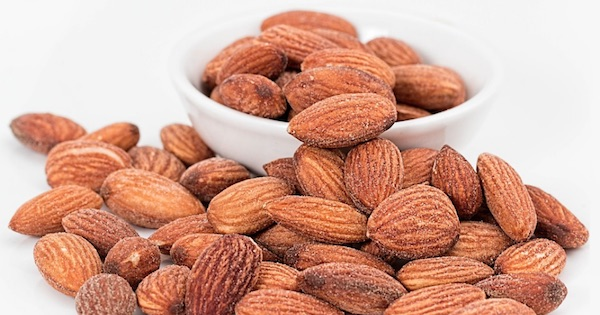 almonds in bowl and on table, New Years