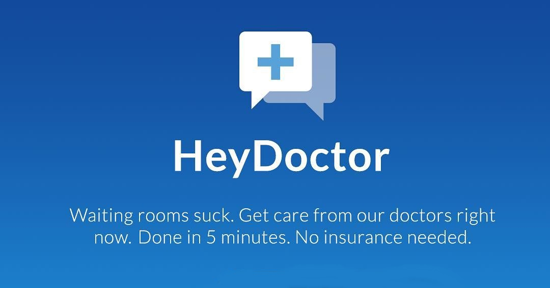 Waiting rooms suck. Get care from out doctors right now.Done in 5 minutes. No insurance needed, How To Buy Birth Control Online, the Hey Doctor logo with blue background followed by the text, health