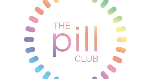 How To Buy Birth Control Online, the Pill Club logo in rainbow text surrounded by rainbow pills, health