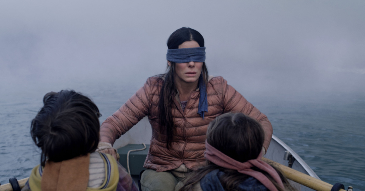 Sandra Bullock with a blindfold covering her eyes in Netflix's 'Bird Box'