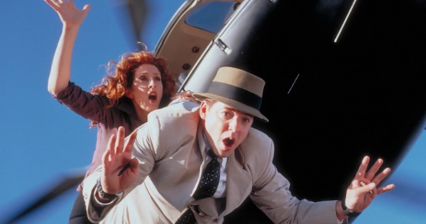 inspector gadget and a woman falling out of helicopter, disney movies