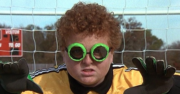 soccer player wearing green goggles defending the goal, disney movies