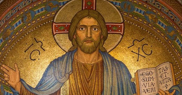 gold mosaic painting of jesus christ holding a book, hymn religion
