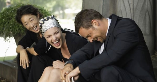 izzie alex and cristina laughing at george's funeral, grey's anatomy season 6