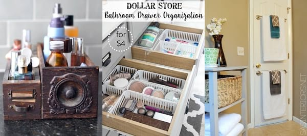 DIY To Make Your House Run Efficiently - three images of bathroom organization, home