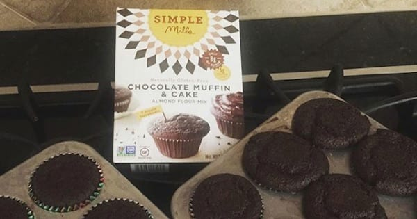 simple mills chocolate cake mix with baked muffins, target